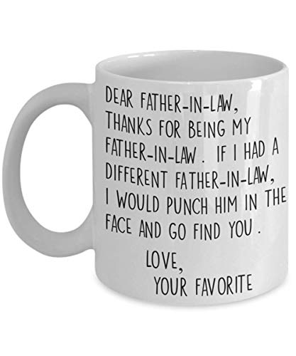 Dear Father-In-Law Thank You Face Punch Mug Funny White 11 oz Ceramic Coffee Cup