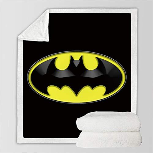 DFTY Decke Batman Super weich aus Fleece, Bettüberwurf, Decke aus weichem & warmem Fleece, 3D-Aufdruck, waschbar, warm, Sofa-Fleecedecke (1,130 x 150 cm)