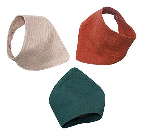 3 Musselinhalstücher aus 100% Baumwolle Dreieckstuch Spucktuch Sabberlätzchen Halstuch 0-18 Monate (beige)