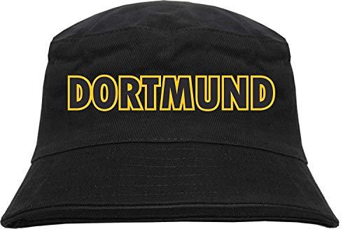 HB_Druck Dortmund Fischerhut - Bucket Hat Blockschrift schwarz gelb S/M Schwarz