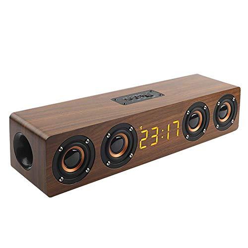 Mini Bluetooth altavoz de cine en casa columna portátil altavoz Bluetooth inalámbrico de altavoces de madera radio reloj despertador subwoofer barra de sonido for altavoces de la TV AUX USB zhuang94