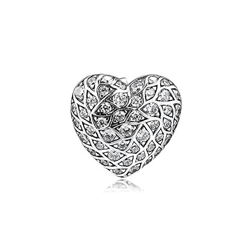 LIIHVYI Pandora Charms para Mujeres Cuentas Plata De Ley 925 Pendiente Único Brillante Patrón Corazón Pendiente De Botón Fiesta Boda Joyería Brincos Compatible con Pulseras Europeos Collars