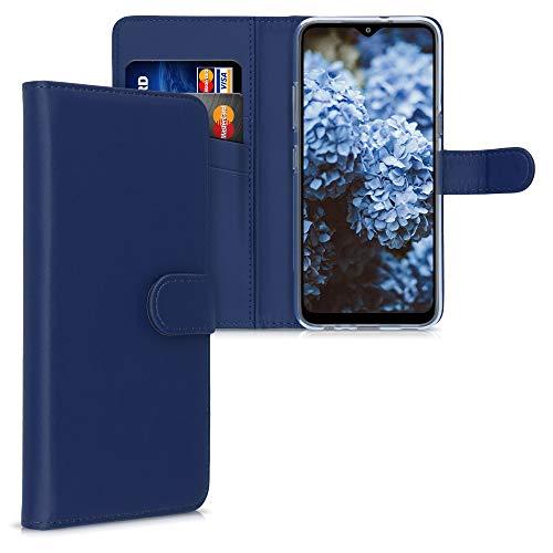 kwmobile Hülle kompatibel mit LG K41S - Kunstleder Wallet Case mit Kartenfächern Stand in Dunkelblau