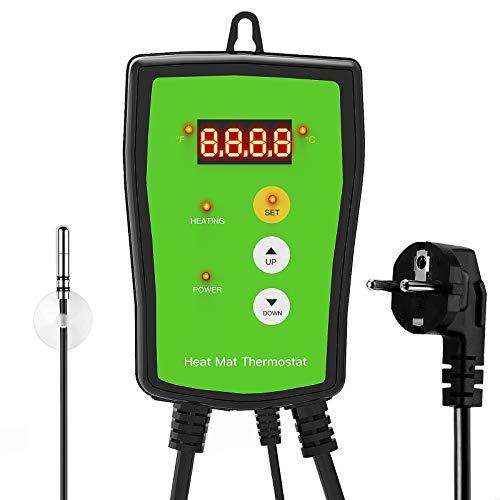 Awroutdoor Digitaler Heizmattenthermostatregler für Samenkeimung, Reptilien Thermostat Breeding TemperaturReptilien und Brauen 68-108 ℉