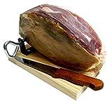 Jamón curado deshuesado (contramaza 1. 5kg) + mini jamonero + cuchillo jamonero | degusta teruel