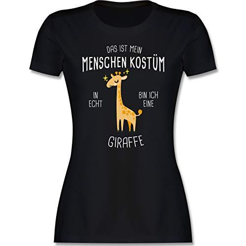 Karneval & Fasching - Das ist Mein Menschenkostüm in echt Bin ich eine Giraffe - L - Schwarz - Giraffe t Shirt Damen - L191 - Tailliertes Tshirt für Damen und Frauen T-Shirt