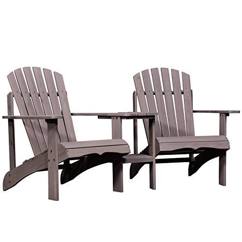 Outsunny Gartenbank mit Tisch und Schirmloch, 2 Stühle-Set, Sitzgruppe, Gartenmöbel, für Balkon, Massivholz, Kaffee, 178 x 87 x 92 cm