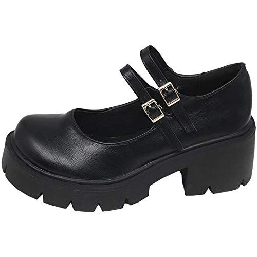 AIMODOR Damen Riemchen Mary Jane Goth Plateau Blockabsatz Lolita Cosplay Schuhe Gothic Pumps pu schwarz 37