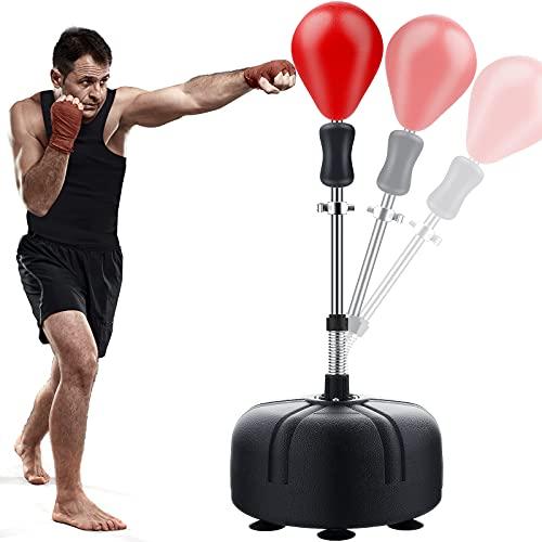 Punchingball Boxstand, 133-155cm Höhenverstellbarer Standbox Trainer Standboxsack für Erwachsene Kinder, Standboxball Freistehend für Boxen Training, Karate Kickboxen, Rot