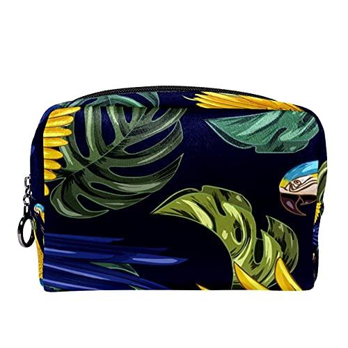 Dibujado a mano realista plantas tropicales animales 18,5 x 7,5 x 13 cm brochas de maquillaje Bolsas de maquillaje multifuncional bolsa de cosméticos bolsa bolsa bolsa,