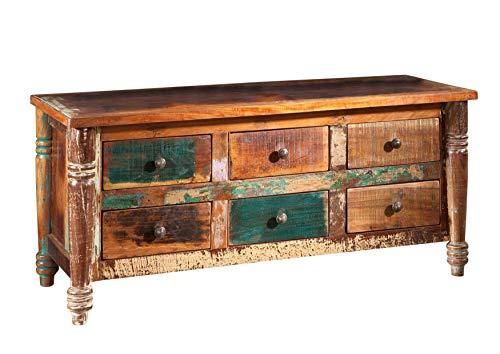 MASSIVMOEBEL24.DE massiv Holz Möbel Vintage lackiert Sideboard Altholz massiv Möbel Mehrfarbig Massivholz Fable #01