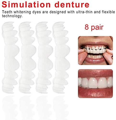 8 Paar Provisorischer Zahnersatz,Temporäre Lächeln Comfort Fit Kosmetische Zähne Prothese Zähne Top Cosmetic Veneer Kit Kosmetik Oberfurnier