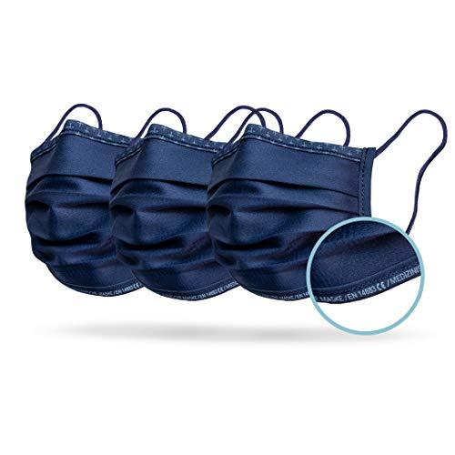 Isko Vital+ Supreme CE & EN 14683 Typ I Zertifizierte Medizinische Masken - Waschbare, wiederverwendbare Gesichtsmasken aus Bio-Baumwolle - 3er Pack - Blau - 14+ Jahr - 95% Filtration