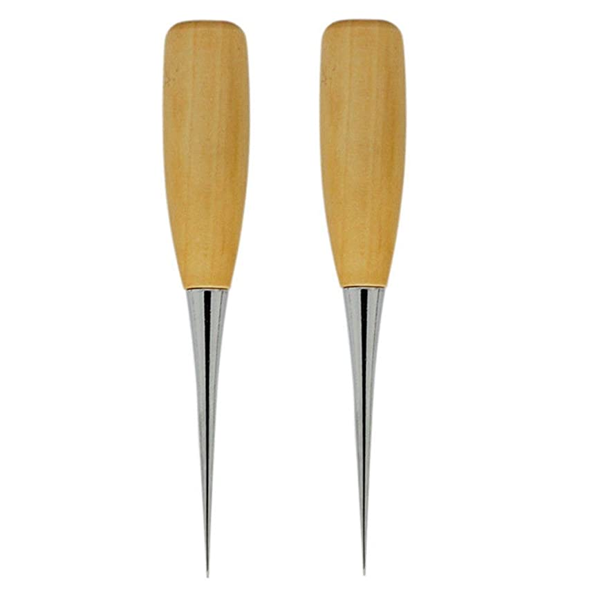 Driak 2pc Wooden Handle Sewing Awl Pin Punching Hole Maker Stitching Awl Kit, Awl Round Solid Tool for DIY Leather Craft