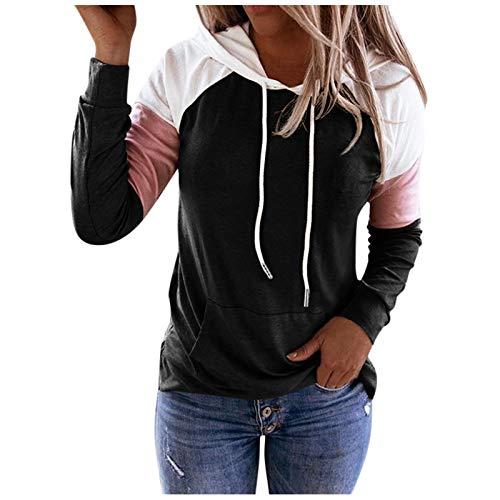 VEMOW Sudadera con Capucha para Mujer Mangas largas, 2021 Nuevo Elegantes Moda Cordón de Costura Pullover Blusas Camisetas Chica Baratas Tallas Grandes Standard Hoodie(Negro,M)