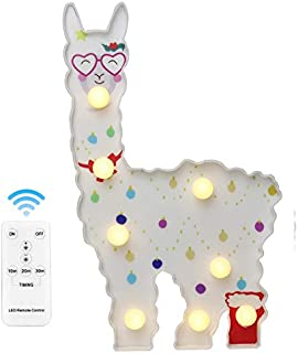 New LED Painted Alpaca Night Light,Alpaca Llama Marquee Signs, Light Up Vicuna, Battery Operated Warm Light Home Decor for Pregnant Woman, Kids, Baby Shower, Nursery, Living Room,Remote Control