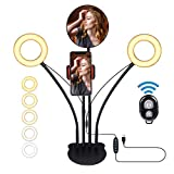 Tabletop Selfie Ring Light - YUNLIGHTS Dual 5 Dimmable LED Ring Light with Stand &Phone Holder & Mirror, Double Ring Light with 3 Light Modes & 6 Brightness Level for YouTube Video Live Stream Makeup