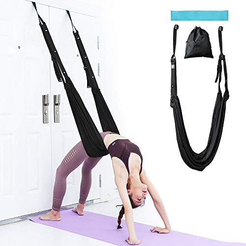 airogym Aerial Yoga Strap, Fitness Strap Band for Waist Trainer Leg Stretching, Door Swing Adjustable Strap - Back Bend, Go Upside-Down for Yoga Practitioner Ballet Dancer Gymnastics Relieve