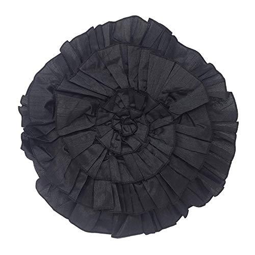 Luxe circulaire Noir volants Swirl Coussin avec intérieur en fibre creuse