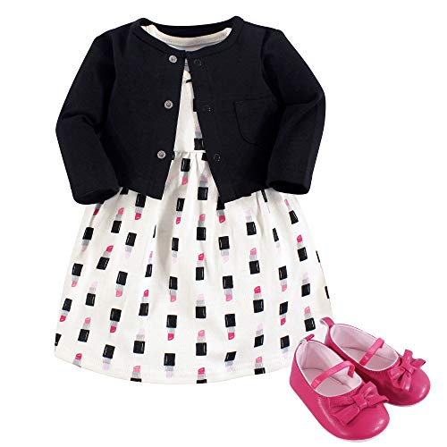Little Treasure Baby Girl Cotton Cardigan, Dress and Shoe, Lipstick, 0-3 Months