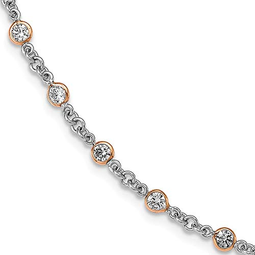 7.25in 925 Sterling Silver Rose Gold Plated Cubic Zirconia Cz Station Bracelet 7.25 Inch Fine Jewellery For Women Gifts For Her