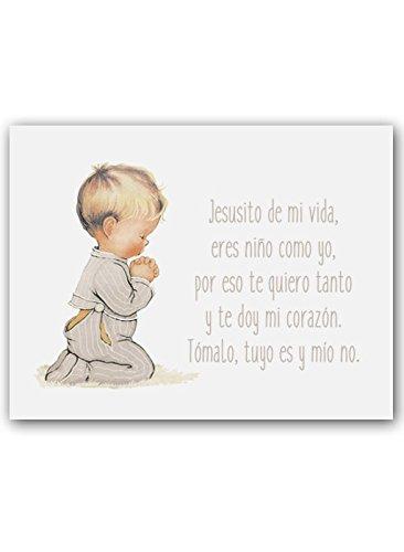CUADRIMAN Cuadro de Niño Rezando con Oración - Grande - Lienzo Liso Gris Piedra - 33 x 43 cm - Decoración para El Dormitorio o Habitación