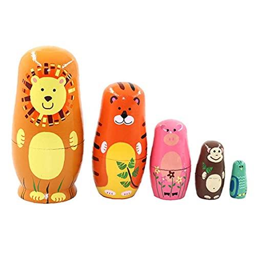 Animal Russo Matryoshka Fumetto Di Legno Bambole Lion Tiger Maiale Scimmia Gufo 5 Strati Russa Doll Set Style1 Ornamenti Del Giardino All'aperto