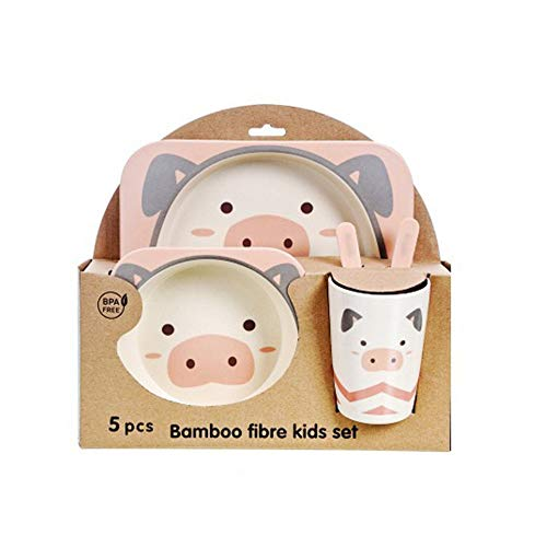 Lzcaure-HO Juego de 5 platos infantiles de fibra de bambú reutilizables, platos de plástico con taza y plato (color: rosa, tamaño: tamaño libre)