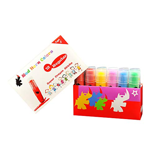 Red Horn 12 Colors Crayon Sticks SCS01, Solid Tempera Paint for Kids Classrooms or Pre-Schools, Non-Toxic, Ultra Clean Washable, No Mess-Up, Super Smooth Twist-Up Crayons, 12 Regular Colors.…