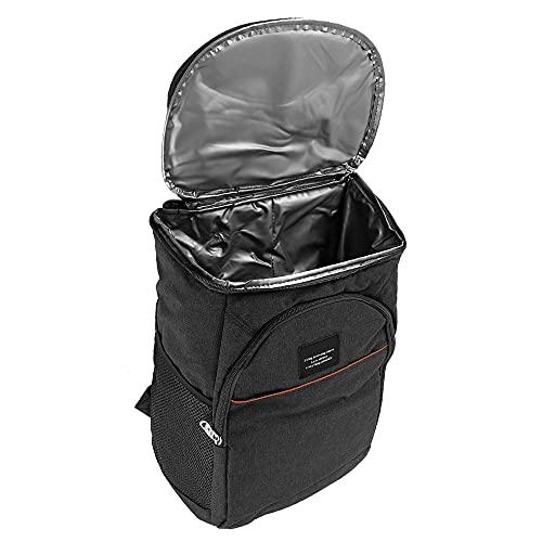 21L Kühl Rucksack, Kühlrucksack Kühltasche Picknicktasche Groß Isoliert Cooler Bag für Strand, Picknick, Camping, BBQ, Wandern (schwarz)