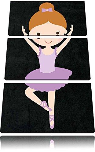 Pretty Ballerina met strikFoto Canvas 3 deel | Maat: 120x80 cm | Wanddecoraties | Kunstdruk | Volledig gemonteerd