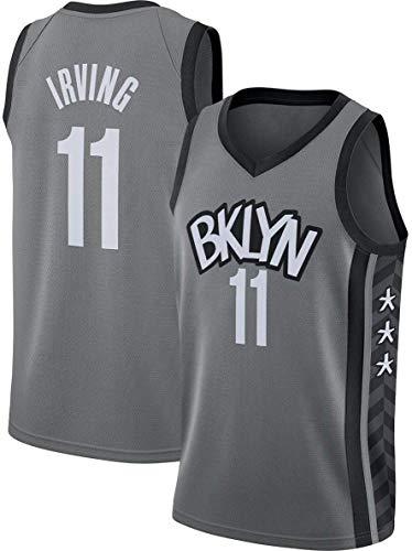 xiaotianshi NBA Basketball Jersey Brooklyn Nets # 11 Kyrie Irving Breathverschleißfeste Gestickte Mesh-Basketball Swingman Trikots Sport-T-Shirt Jerseys,Grau,M