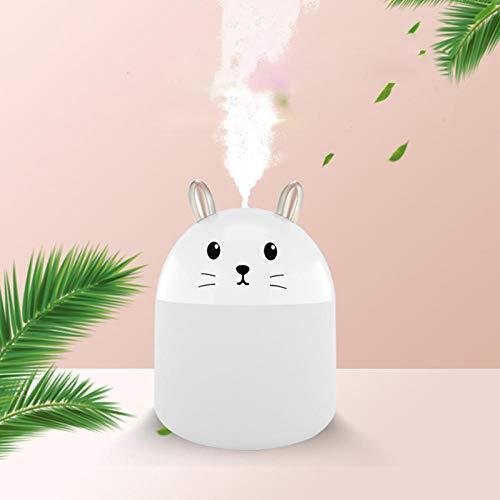 LANGPIG Humidificador de Conejo Mini difusor USB humidificador de Aire de Coche Colorido Spray de luz Nocturna difusor de Aroma de Oficina en casa-Blanco