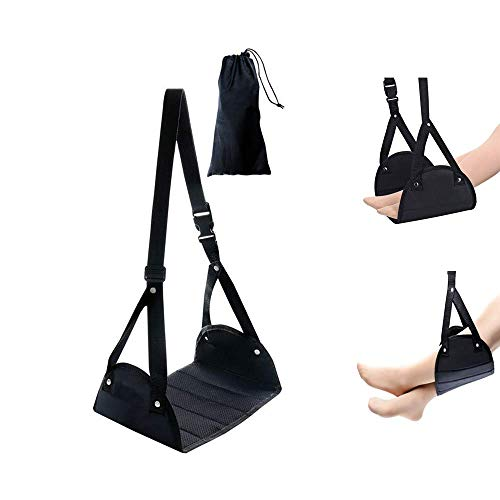 FAREVER Airplane Foot Rest, Portable Travel Footrest Travel Accessories for Airplane Desk Office Home Use, Adjustable Footrest Hammock, Black