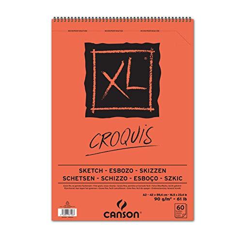 Canson XL Croquis Skizzenblock, DIN A2, 60 Blatt, 90 g/m², creme