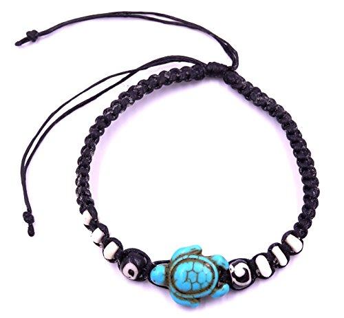 MADE IN ZEN - Pulsera de la amistad, tortuga, amuleto de la buena suerte, unisex, talla ajustable, color negro, azul turquesa