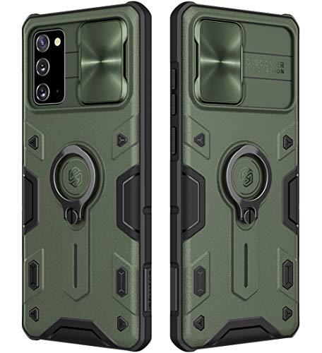 Funda protectora híbrida para Samsung Galaxy Note 20 5G con soporte de anillo y cubierta para lente de cámara, CamShield Armor a prueba de golpes PC y TPU (verde, Note 20/Note 20 5G)