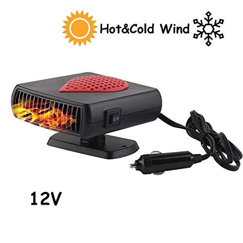 Riloer Riscaldatore per auto portatile 2 in 1, sbrinatore per auto, ventola di raffreddamento per auto calda e fredda Sbrinatore per parabrezza con presa accendisigari 12V