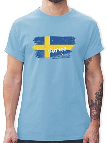 Fußball-Europameisterschaft 2021 - Schweden Vintage - XXL - Hellblau - Tshirt schweden Herren - L190 - Tshirt Herren und Männer T-Shirts
