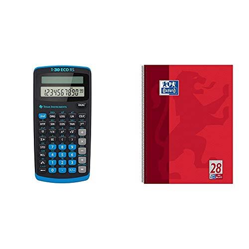 Texas Instruments TI 30 ECO RS Taschenrechner (10-stellige Display, solarbetrieben, Blauer Engel) hellblau-schwarz & Oxford Schule Collegeblock A4, kariert, 80 Blatt, gelocht, rot, 1 Stück