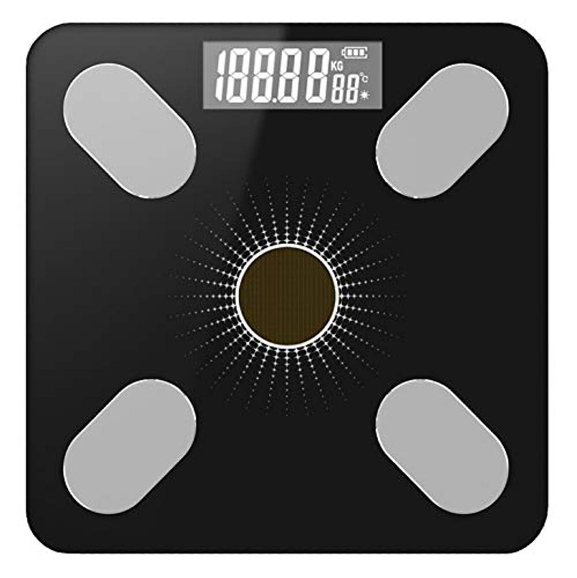 隔離観点セールスマンPINGF 体重計 体脂肪 体組成計 体重計 環境に優しい太陽光発電 体組成計 26 * 26cmの太陽動力を与えられたブラックライト体脂肪体組成計 体重/体脂肪率/体水分率/推定骨量/基礎代謝量/内臓脂肪レベル/BMIなど測定可能 Bluetooth対応 iOS/Androidアプリで健康管理 ベビーモード搭載 データグラフ化