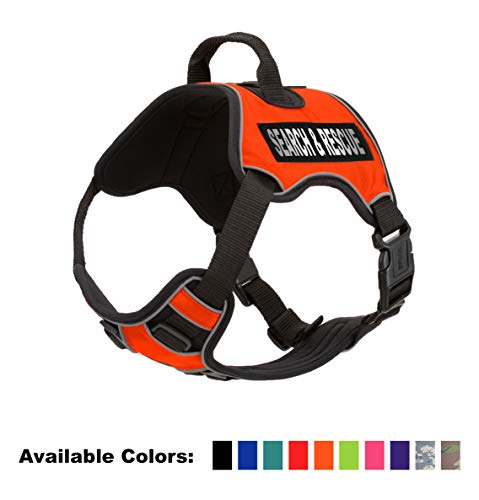 Dogline Quest No-Pull Dog Harness with Search & Rescue Reflective Removable Patches Soft Comfortable Dog Vest with Quick Release Dual Buckles Black Hardware and Handle 25 to 31 inches Orange