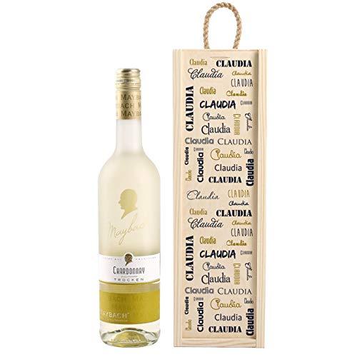 Herz & Heim® Personalisiertes Wein-Geschenk mit Weißwein zur Auswahl - edles Geburtstagsgeschenk Chardonnay