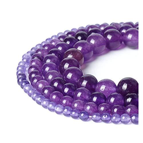 HETHYAN Beads Natural Amethyst púrpura del Jade del Grano Flojo 4/6/8/10 mm Bola ágata de la Piedra Preciosa de Piedra cristalino for Las Mujeres Regalos de la joyería Que Hace (Size : 6mm 62pcs)