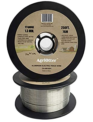 AgriOtter Aluminum Electric Fence Wire for Garden Fence, Electric Fence, Chicken Wire Fence, Craft Wire, 250 feet(76M) 17 Gauge (1.3 mm.) (0.05 inch) Aluminum Wire