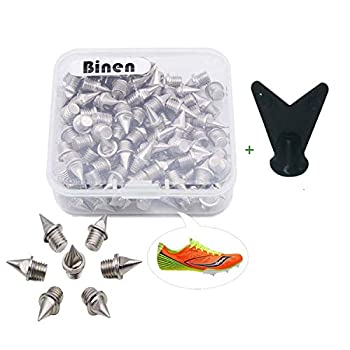 Binen Track Spikes 1/4  Length Pyramid Shoes Spike Replacement Stainless Steel for Track Sprint Cross Country with Wrench,110 Pieces