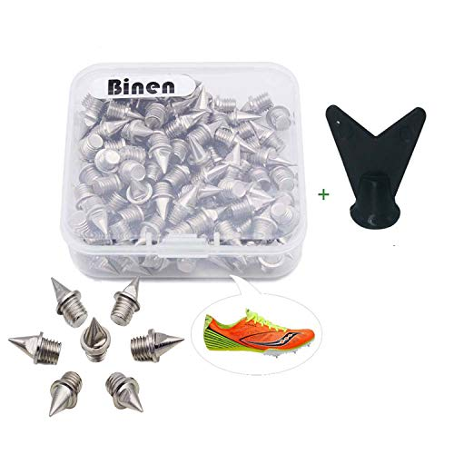 """Binen Track Spikes 1/4"""" Length Pyramid Shoes Spike Replacement Stainless Steel for Track Sprint Cross Country with Wrench,110 Pieces"""