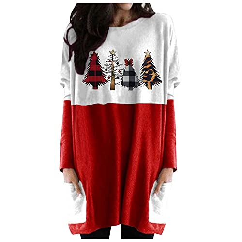 Christmas T-Shirt Women Santa Hat Snowflake elf Graphic Christmas Shirt Funny Long Baseball Tees Top Shirt Fall Winter (#197 Red,XX-Large)