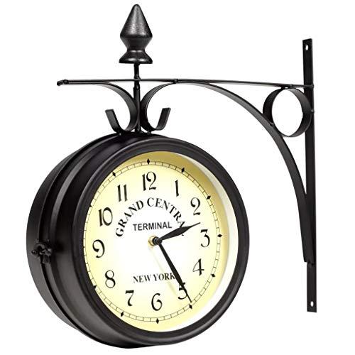 Orologio da Parete in Stile Stazione londinese,Orologio da Muro su Due Lati, Orologio a Parete a Doppia Faccia, per Interni o Esterni, 20 cm (Nero)