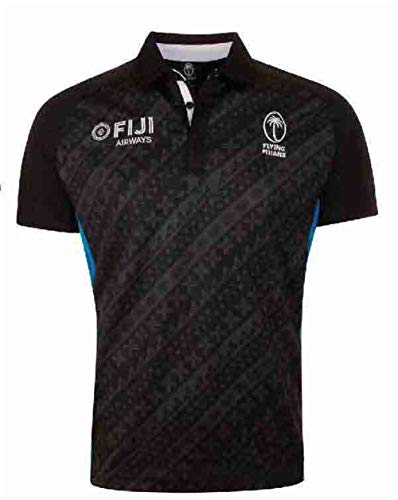 LQWW Sports Fan Jersey,Fiji Souvenir Rugby Jersey, Men's Polyester Quick Drying Breathable Short Sleeve Rugby Supporters T-Shirt,Black,XXXL